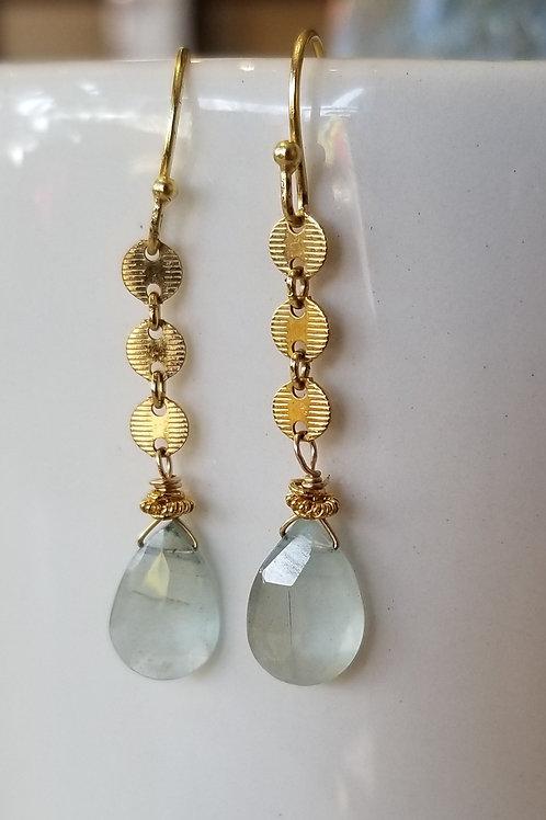 Luna Mar Goldfill and Aquamarine Earrings
