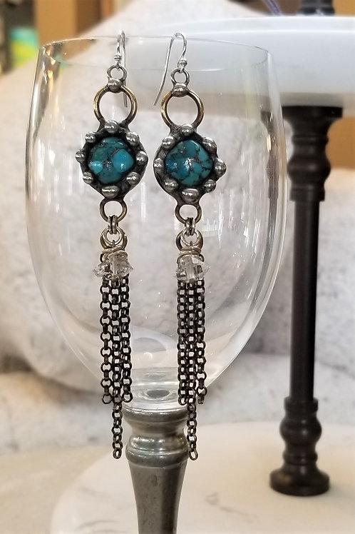 Mikal Winn Turquoise & Herkimer Diamond Earrings