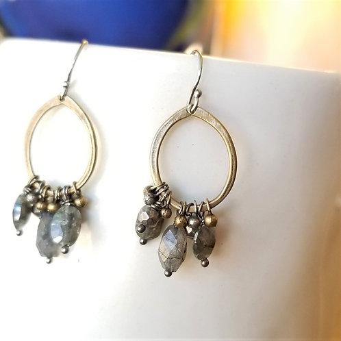 Original Hardware Labradorite and Pyrite Earrings