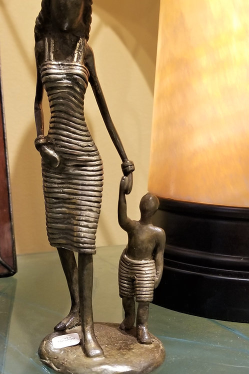 Swahili Lustrous Life Mother and Toddler Sculpture