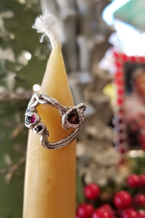 C & R Designs Garnet and Tourmaline Fine Silver Ring