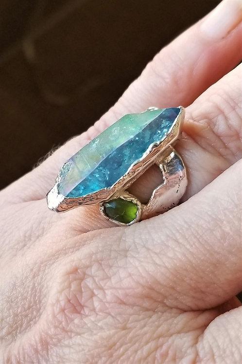 C&R Blue Quartz Fine Silver Ring