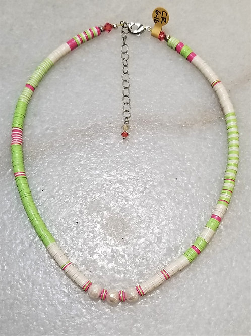 The Mermaid's Pearl Pink/Green Record Bead Necklace