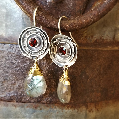 Austin Titus Studio Garnet and Labradorite Earrings