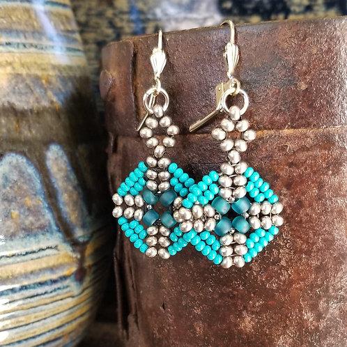 Joy of Wings Silver & Turquoise Beaded Earrings