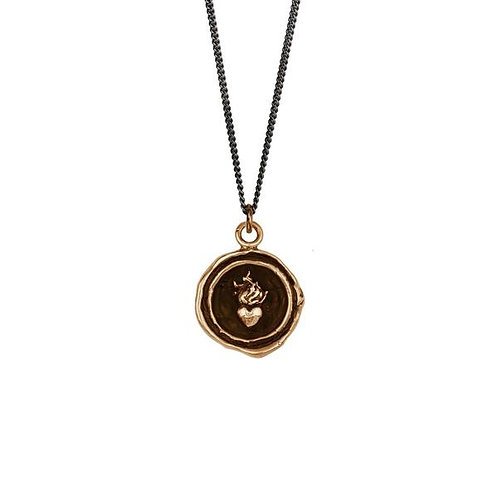 Pyrrha Bronze Flaming Heart Talisman Necklace