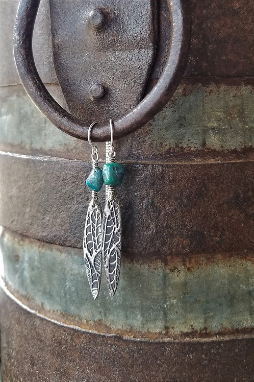 Texture & Tarnish Turquoise Threader Earrings