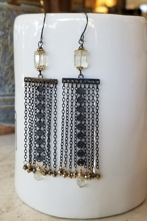 Luna Mar Long Oxidized Citrine Drop Earrings