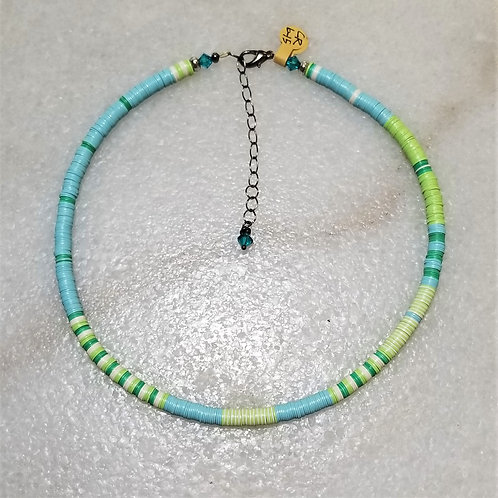 The Mermaid's Pearl Blue/Green Record Bead Necklace