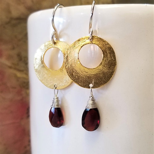 ObscurO Brass, Sterling & Garnet Earrings