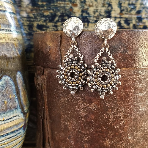 Joy of Wings Silver, Black & Gold Beaded Post Earrings