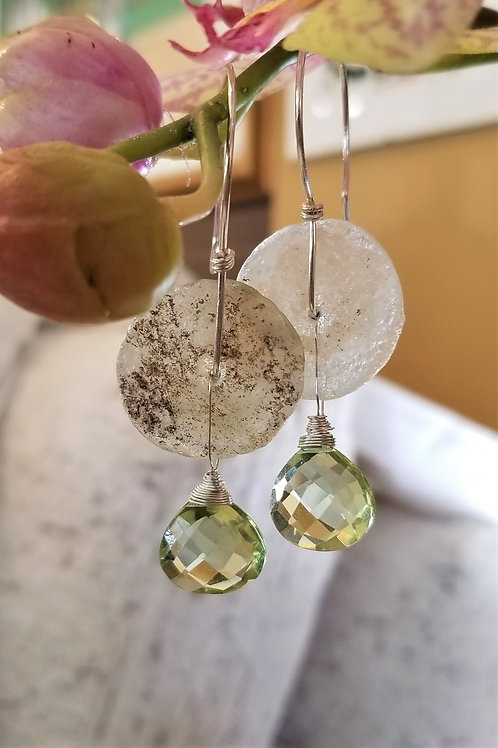 ObscurO Roman Glass and Green Amethyst Earrings