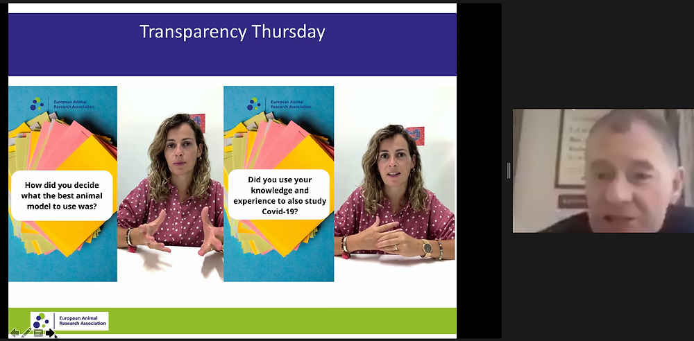 Kirk Leech on video call, presenting a slide with screenshot images of the #TransparencyThursday instagram feature w