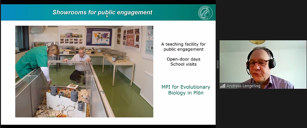 Dr Andreas Lengeling on video call, presenting a slide showing a teaching facility used to inform the public on housing of laboratory animals