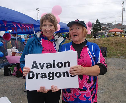 Paddlers holding sign