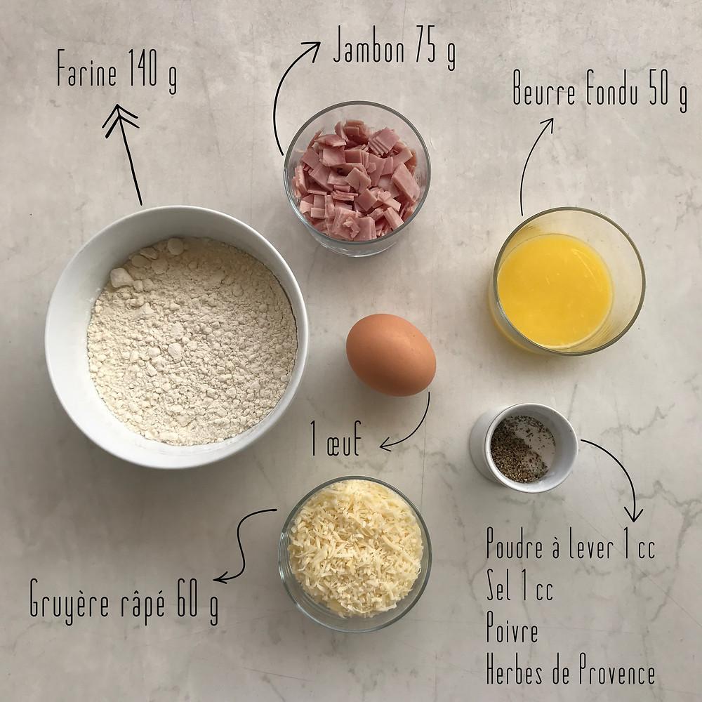Ingrédients cookies jambon gruyère Lulufood