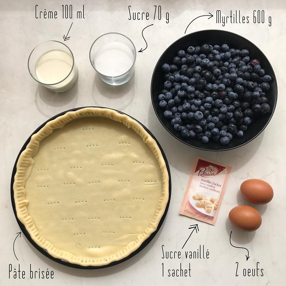Ingrédients tarte gourmande myrtilles