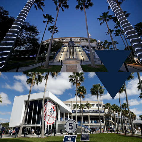 Before and after of the front of the stadium
