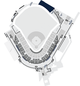 Stadium Layout with the Seminole Hard Rock Cabanas Highlighted