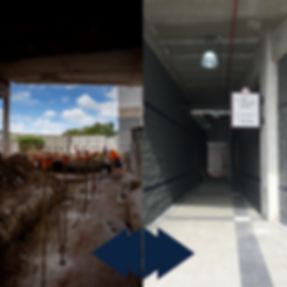 Before and After of the walk-way into the stadium