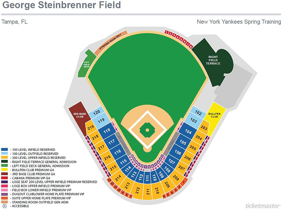 Seating map gms field new york yankees spring training
