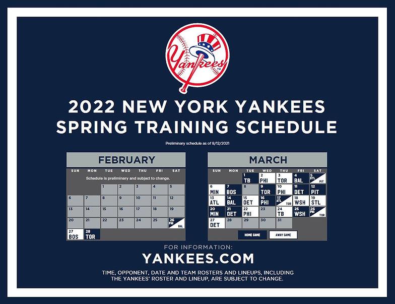 2022 Yankees Spring Training Schedule