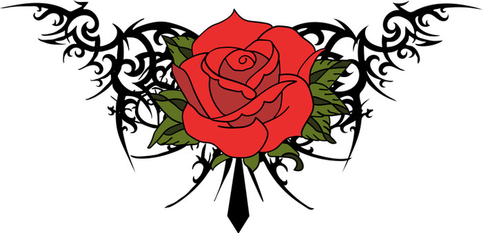 Rose and Barb Wire Vector Graphic