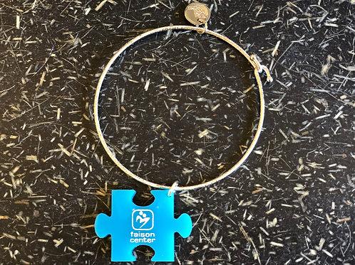 Silver Bangle Bracelet with Faison Cenetr Charm