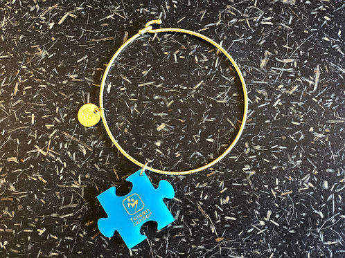 Gold Bangle Bracelet with Blue Faison Center Charm
