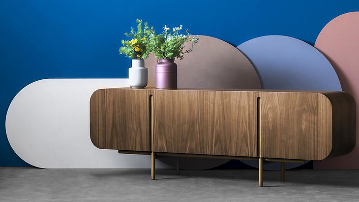 OM credenza sideboard by Athanasios Babalis for Anesis solid wood walnut and steel or bronze