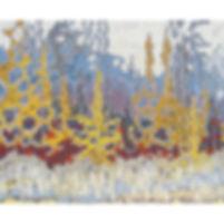 Trees, forest, lake, rocks, Muskoka paintingiin