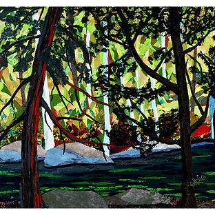 Agonquin forest water fabric art