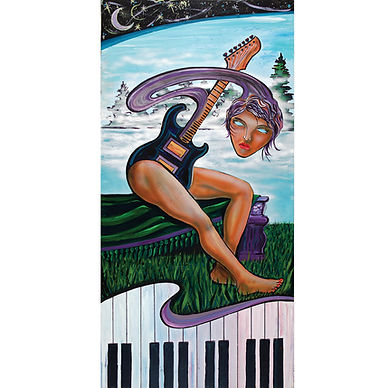 Algonquin art, guitar, woman, forest