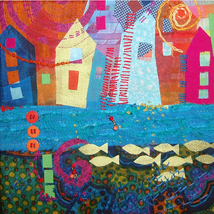 Lake homes fish fabric art