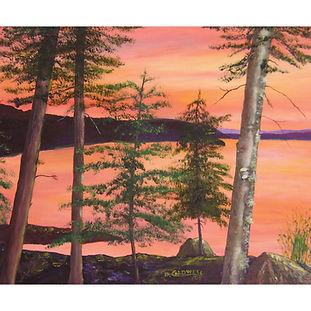 Lake, Trees, Sunset, Algonquin Park paintingg