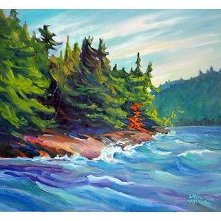 Algonquin Park forest, island, lake, art
