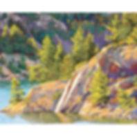 Trees, forest, lake, rocks, Muskoka paint print