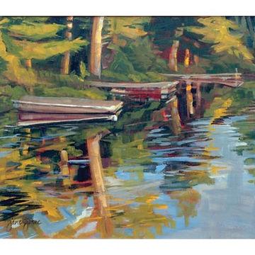 Trees, forest, lake, rocks, boat Muskoka