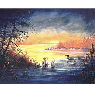 Algonquin Park Loon Sunset Water Art