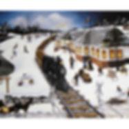 Muskoka folk art, train snow village people