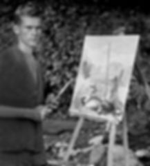 Robert Bateman at easel painting in Algonquin Park. c1948