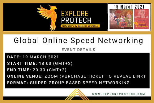 19 March 2021 Global Online Speed Networking - First Timers' Taster Ticket