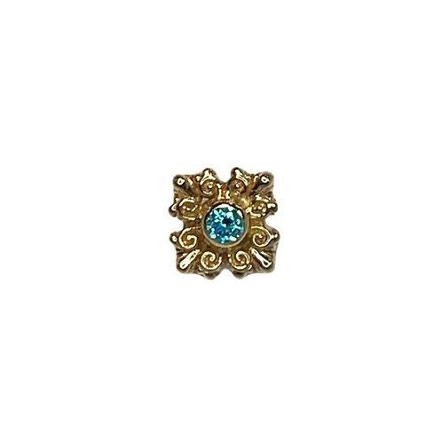 Body Gems Elegance Filigree Aqua 14kt Yellow Gold