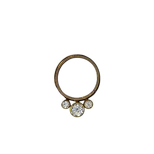 The 'Solstice' Cz Titanium Ring Anodised Gold
