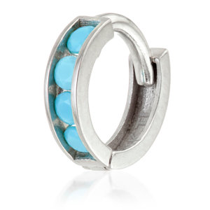 CHANNEL TURQUOISE SET RING 1.2x8mm