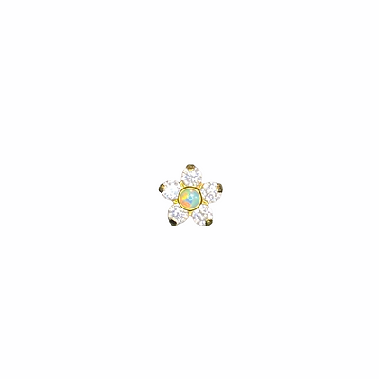 CZ & Opal large flower - anodised gold