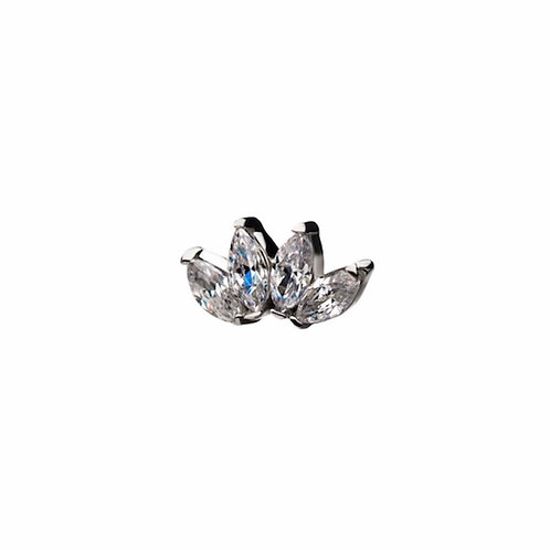 Invictus Fan Marquise Cz Large 14kt White Gold