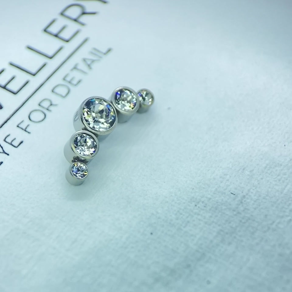 Titanium set with Clear Crystals