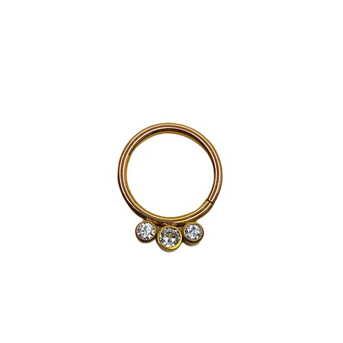 The 'Nahara' Cz Titanium Ring Anodised Gold