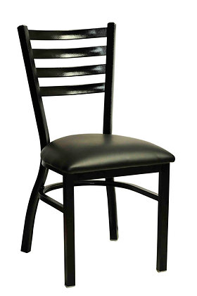 Black steel dining chair side view